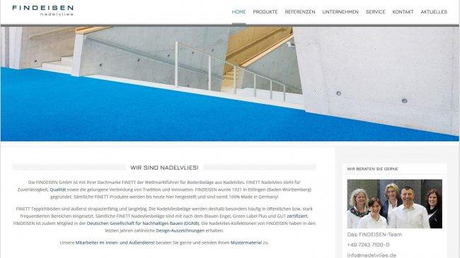 Neue Website für FINDEISEN unter www.nadelvlies.de